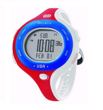 soleus chicked red white blue digital running sport watch