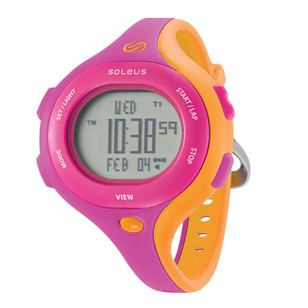 soleus chicked pink orange digital running sport watch