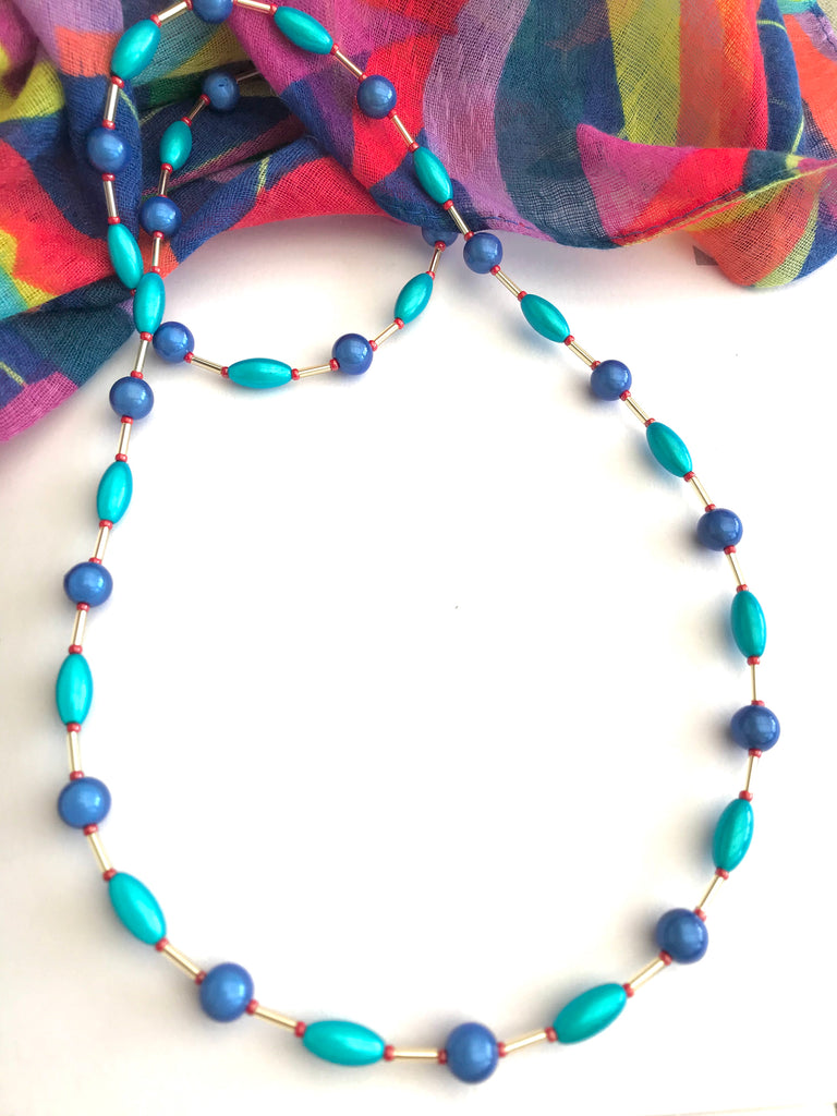 "26"" Blue and Turquoise Illusion Bead Necklace"