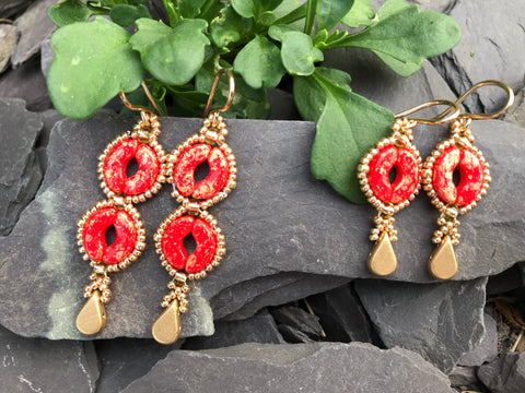 Amelia Coral beaded Earrings and necklace