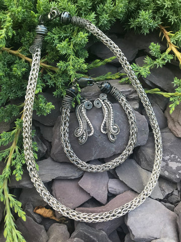 Double Sterling/Fine Silver Viking Weave Necklace