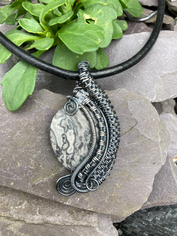 Oxidised Silver Crazy Lace Agate Pendant