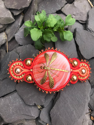 Red Dragonfly Hair Barrette