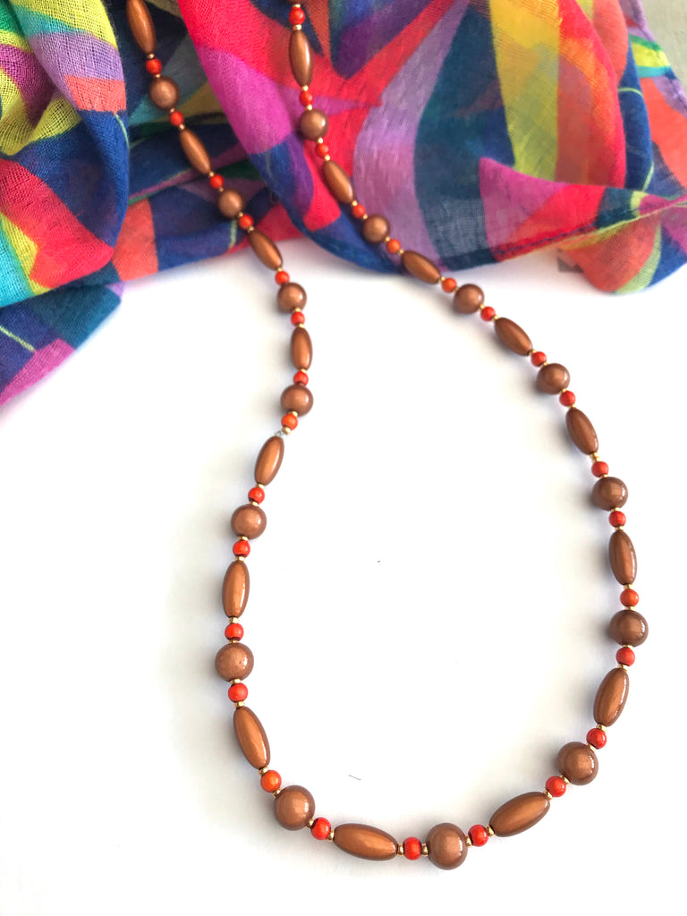 "24"" Brown and Orange Illusion Bead Necklace"