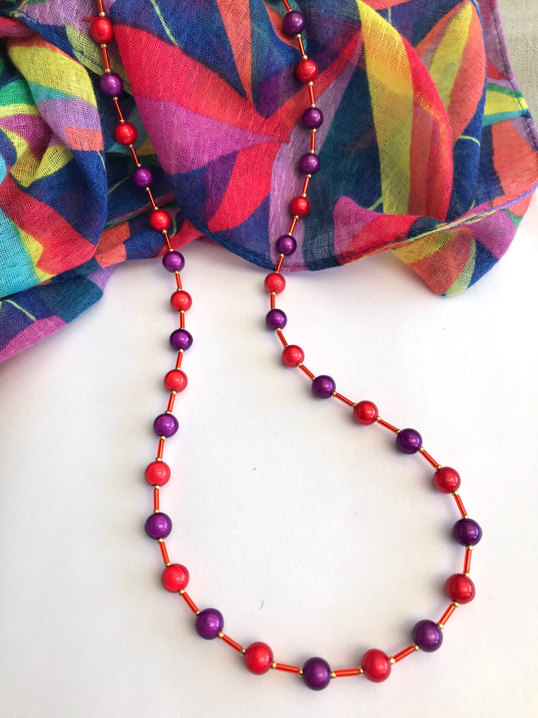 "25"" Red and Purple Illusion Bead Necklace"