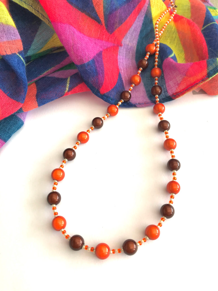 "18"" Chocolate and Orange Illusion Bead Necklace"