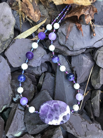 "19"" Amethyst, Agate and Pearl necklace"