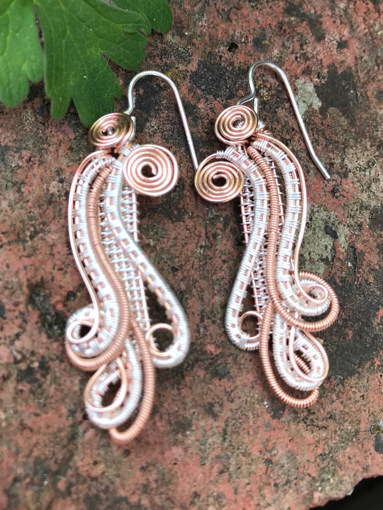 Wave Earrings (pure silver/rose gold)