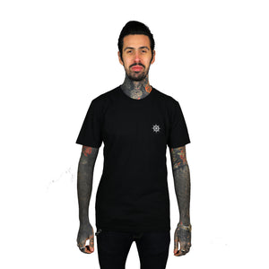 Embroidered Wheel T-Shirt Black