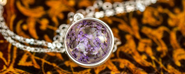 purple dried flower orb silver necklace