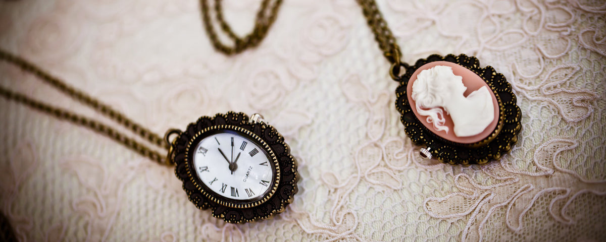 cameo pocket watch vintage necklace
