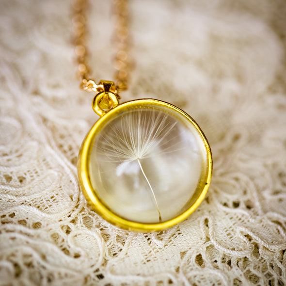 Gold Dandelion Seed Necklace on Lace.jpg