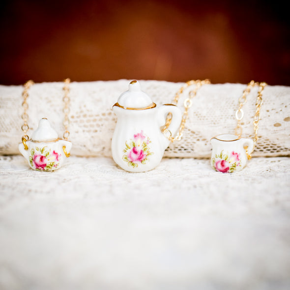 vintage doll house china tea-cup necklaces pink rose 1
