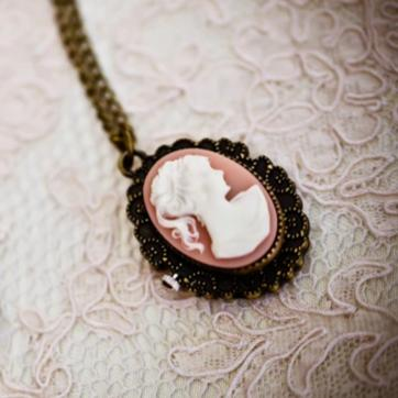 cameo pocket watch vintage necklace, cameo view