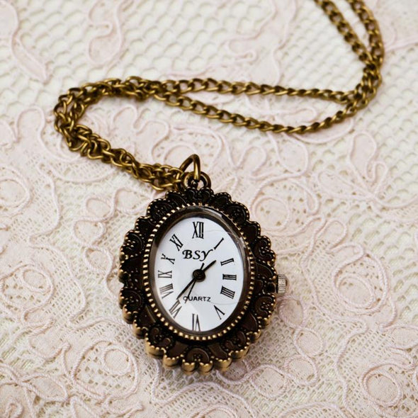 cameo pocket watch vintage necklace, watch view