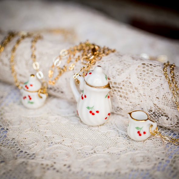 vintage doll house china tea-cup necklaces cherry