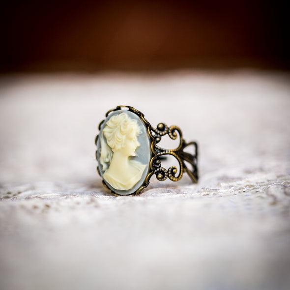 vintage cameo filagree ring, Romantic Dusty Blue with Ivory Cameo