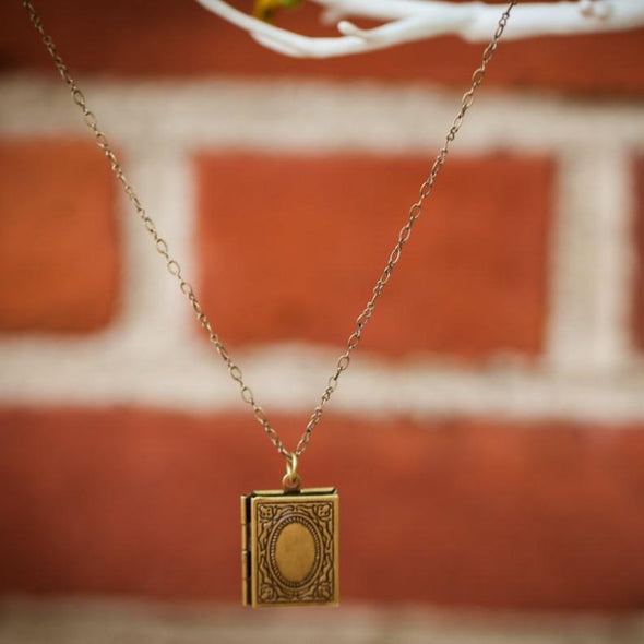 literature book locket hanging from tree, closed