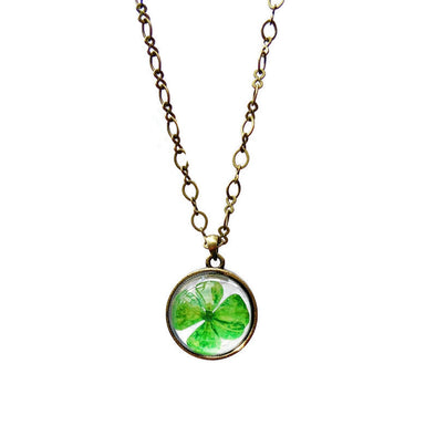 Four Leaf Clover Pressed Flower Necklace