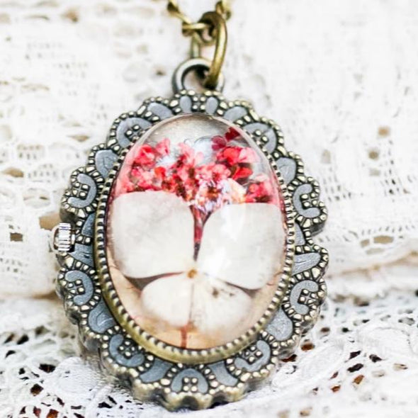 White Blossom, Pressed Flower Pocket Watch