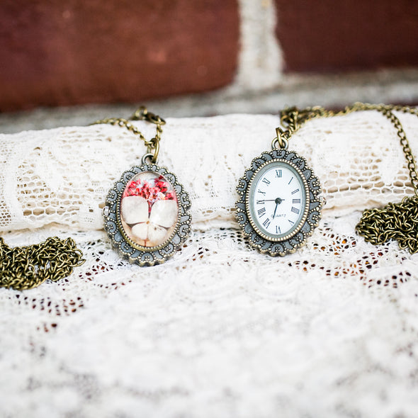Yellow Wild Flower Pressed Flower Pocket Watch