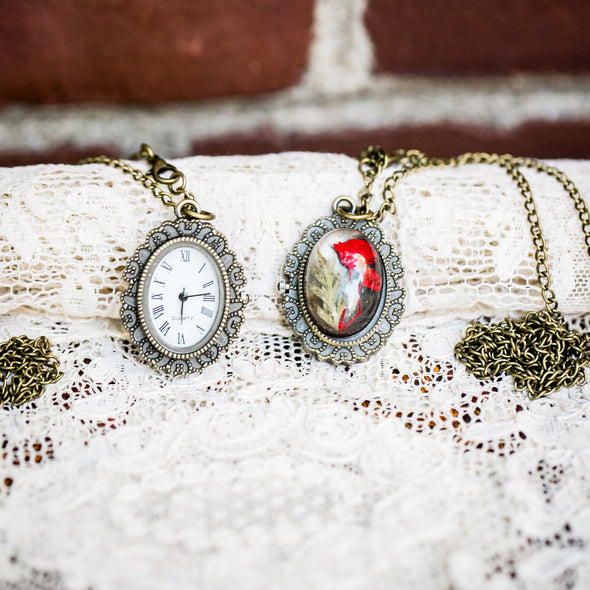 Queen Anne's Lace Pressed Flower Pocket Watch