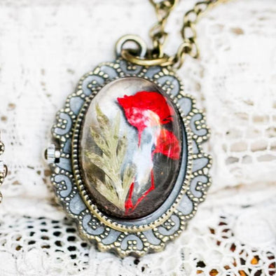 Red Flower Pressed Flower Pocket Watch