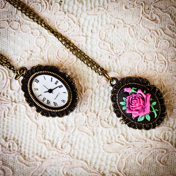 The Belle Pocket Watch (Pink Rose)