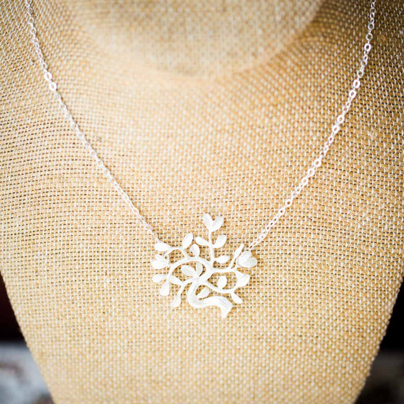 The Chaya tree of life silver on neck display