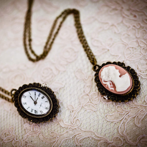 cameo pocket watch vintage necklace, cameo and watch view