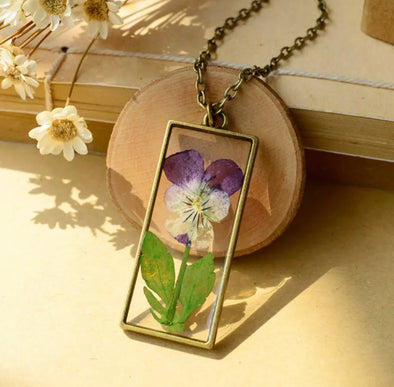 Pressed Pansy Necklace