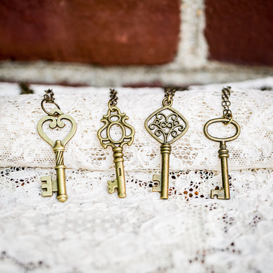 vintage skeleton brass key necklaces on lace