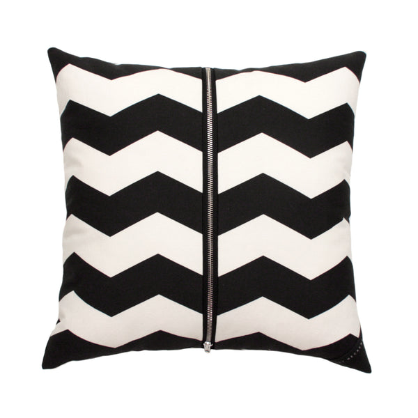 Cushion / Chevron Charcoal & White