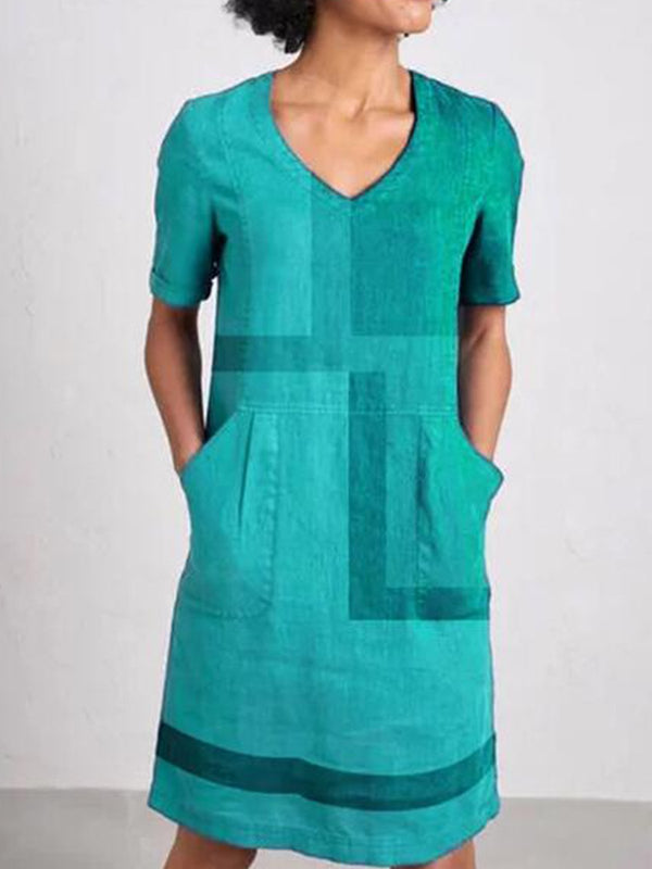 Pockets Patchwork Short Sleeve Cotton-Blend Dresses