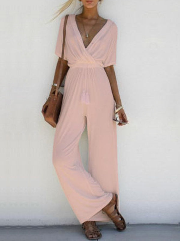 Half Sleeve Casual Solid Surplice Neck Fashion Plus Size Jumpsuits