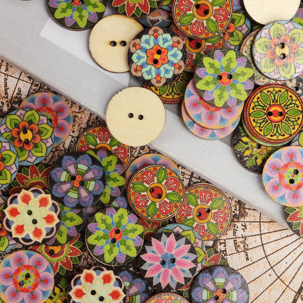 100 Pcs Colorful Wooden Sewing Buttons 2 Holes Washable Flower Pattern Buttons