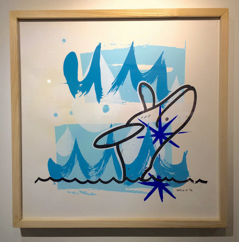 Blue Whale Framed Silkscreen