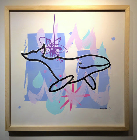 Purple Whale Framed Silkscreen