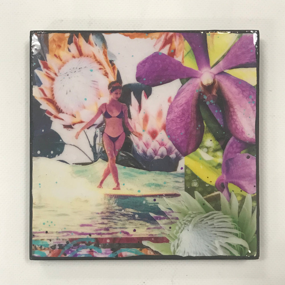 """Protea Josie Slide"" 6x6 Glassed Collage Print"