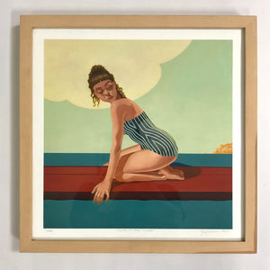 "Natural Wood Framed Print ""Head in the Clouds"""