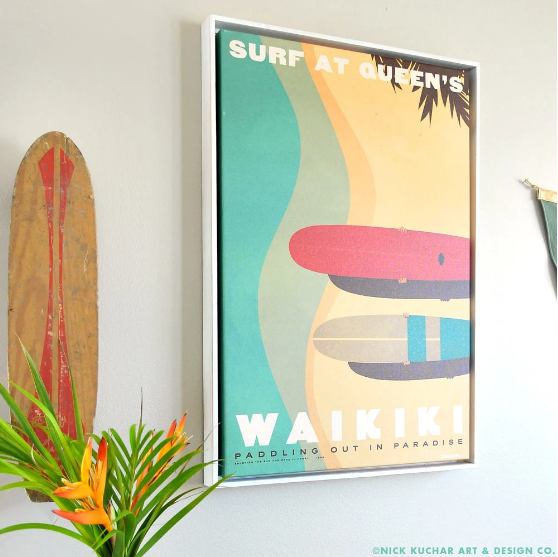 Surf at Queen's - Framed Canvas