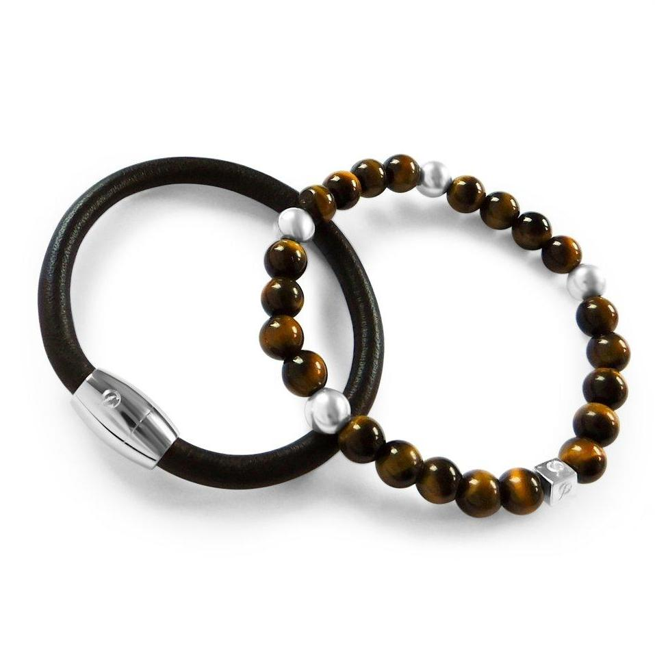Mens Chester Brown Braclet Stack