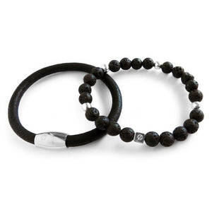 Flinn Charles Henry Black 2 Stacks of Mens Bracelets
