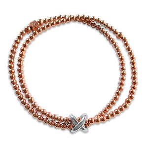 Jennifers Kiss Rose Gold Double Bracelet