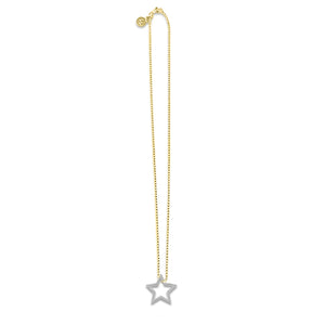 Gold with Silver Star Necklace