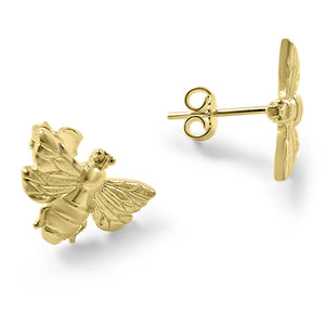 Yellow Gold Bee Stud Earrings