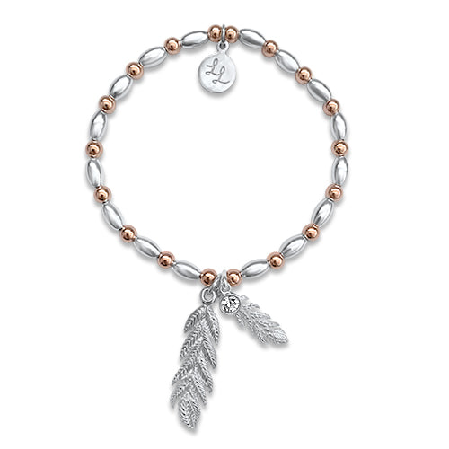Dixie Feather Love Bracelet With Rose Gold