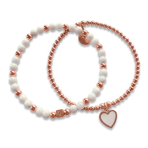 Melody Rose Gold White Heart 2 Stack