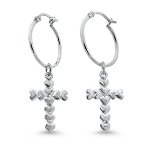 Silver Heart Cross Hoop Earrings