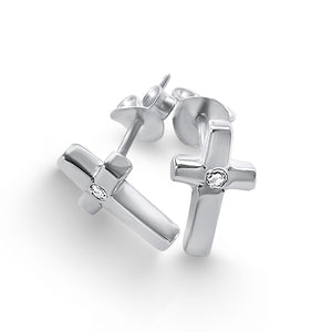 Cross Crystal Stud Earrings